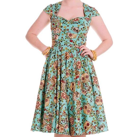 Hell Bunny Dresses & Skirts - Sasha Sugar Skull Dress Size M Hell Bunny Turquois